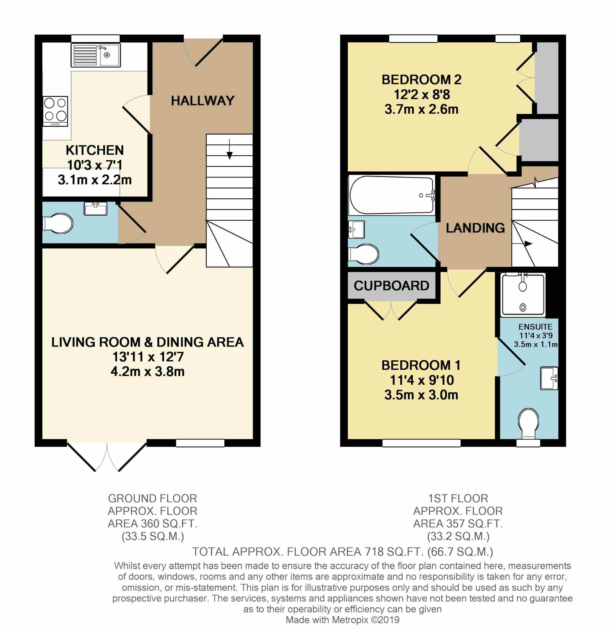2 Bedroom Semi-detached House For Sale - Floorplan 1