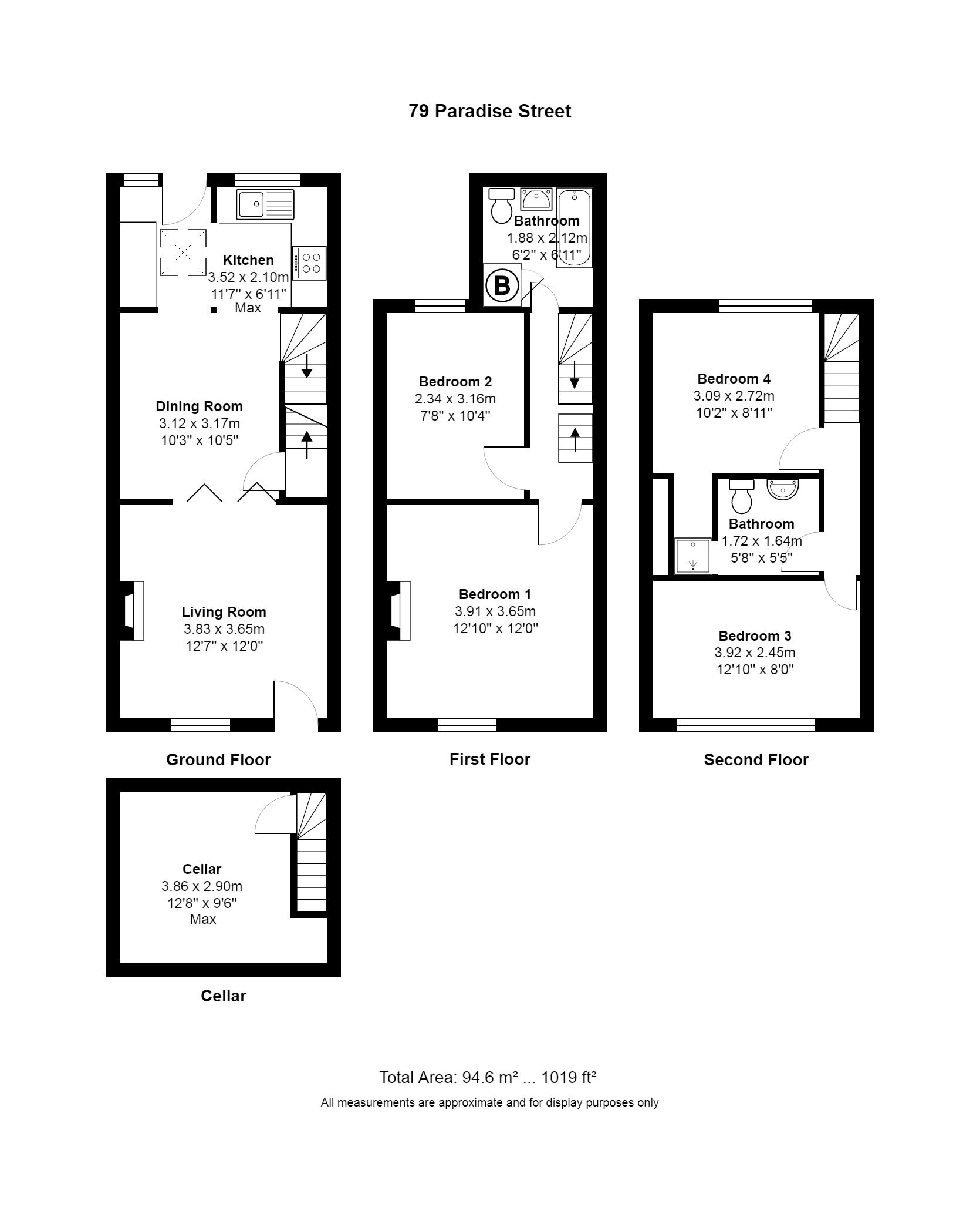 4 Bedroom Mid Terraced House For Sale - Floorplan 1