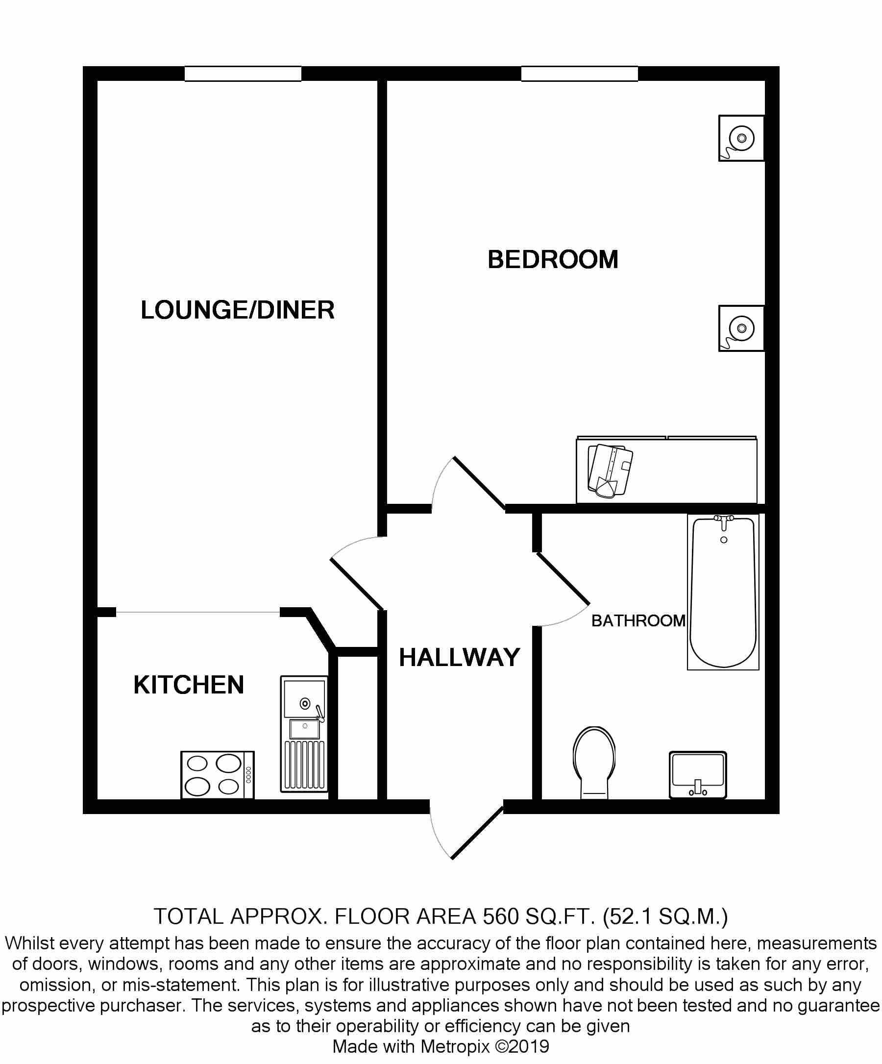 1 Bedroom Ground Floor Flat/apartment For Sale - Floorplan 1