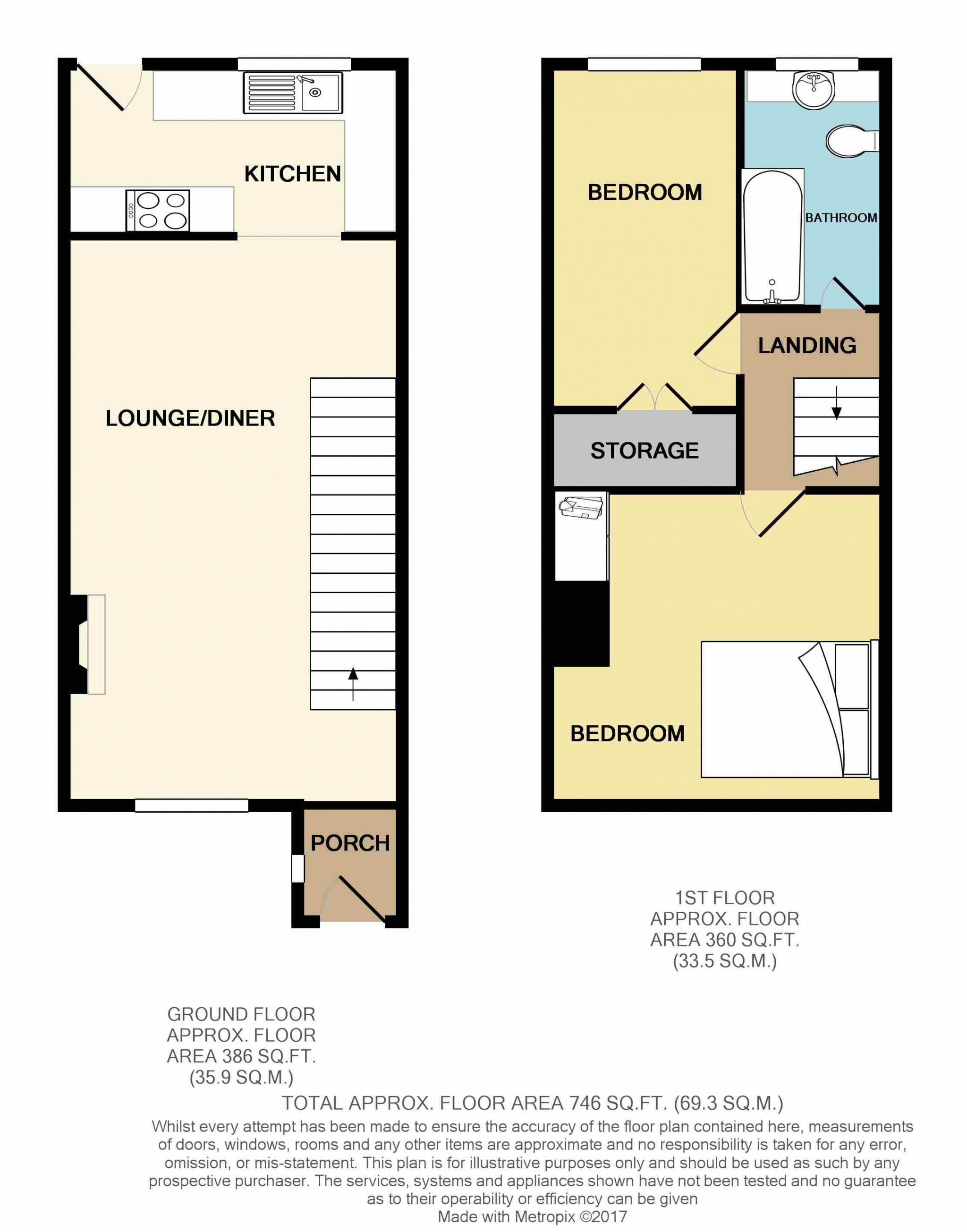2 Bedroom Mid Terraced House For Sale - Floor Plan