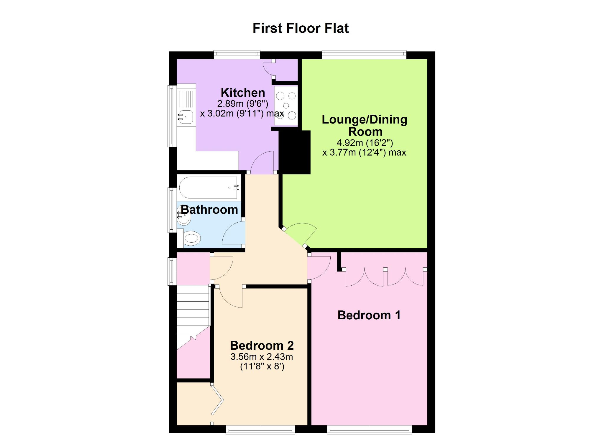 2 bedroom apartment flat/apartment Let in New Malden - Floorplan 1