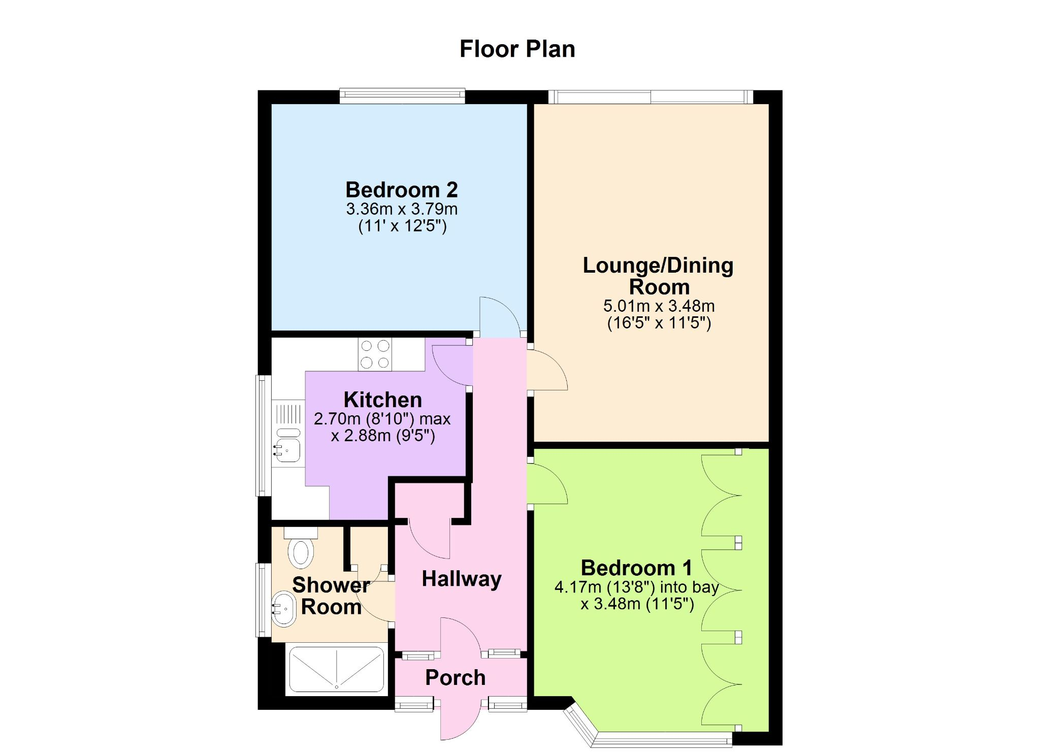 2 bedroom semi-detached bungalow Let in Epsom - Floorplan