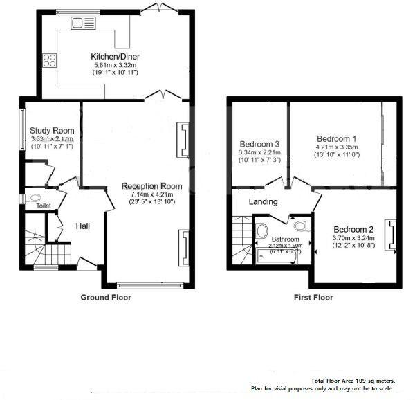 3 bedroom semi-detached house For Sale in Surbiton - Floorplan