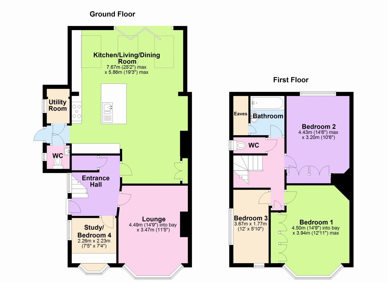3 bedroom semi-detached house Sold in New Malden - Floorplan 1