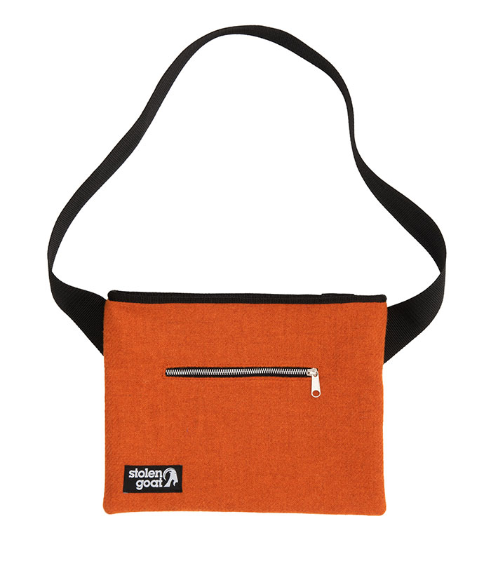 Stolen Goat Bright Orange Harris Tweed Musette