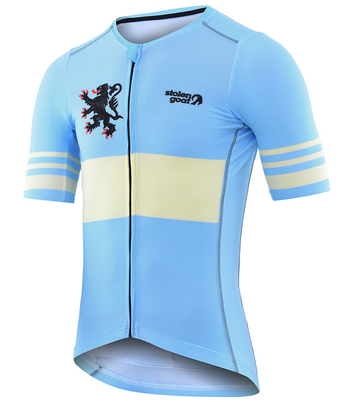 Stolen Goat Belgian Blue men's climbers jersey front