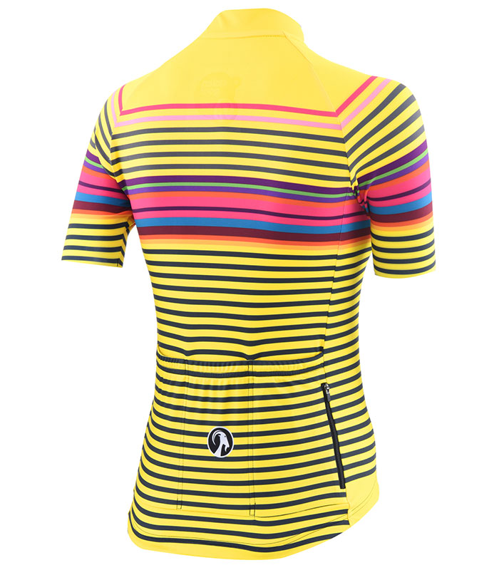 Stolen Goat women's Morello Yellow bodyline cycling jersey rear