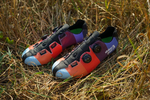 stolen goat hinterland cycling shoes in the long grass