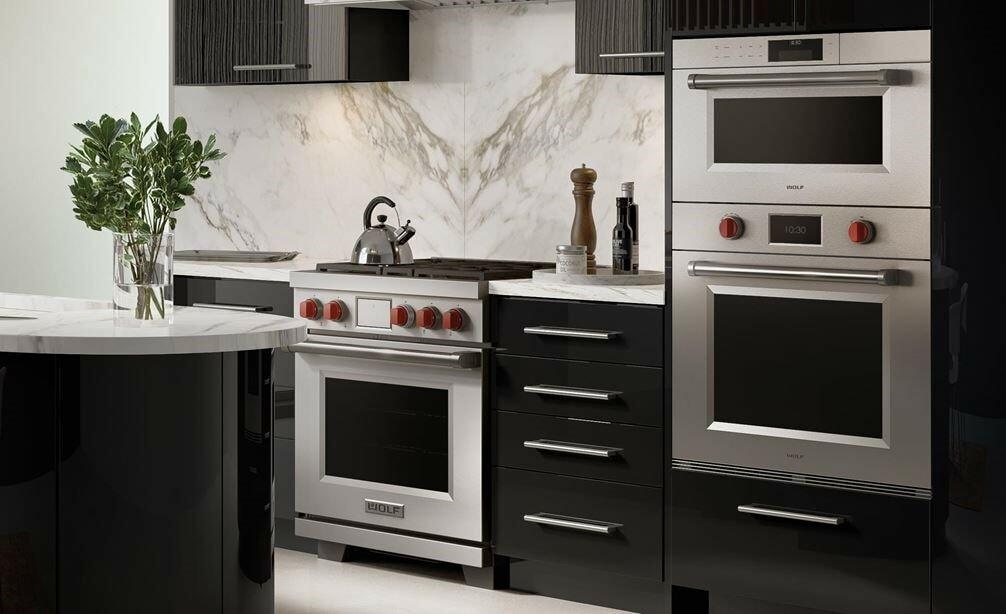 Wolf Range Oven in Dark Kitchen