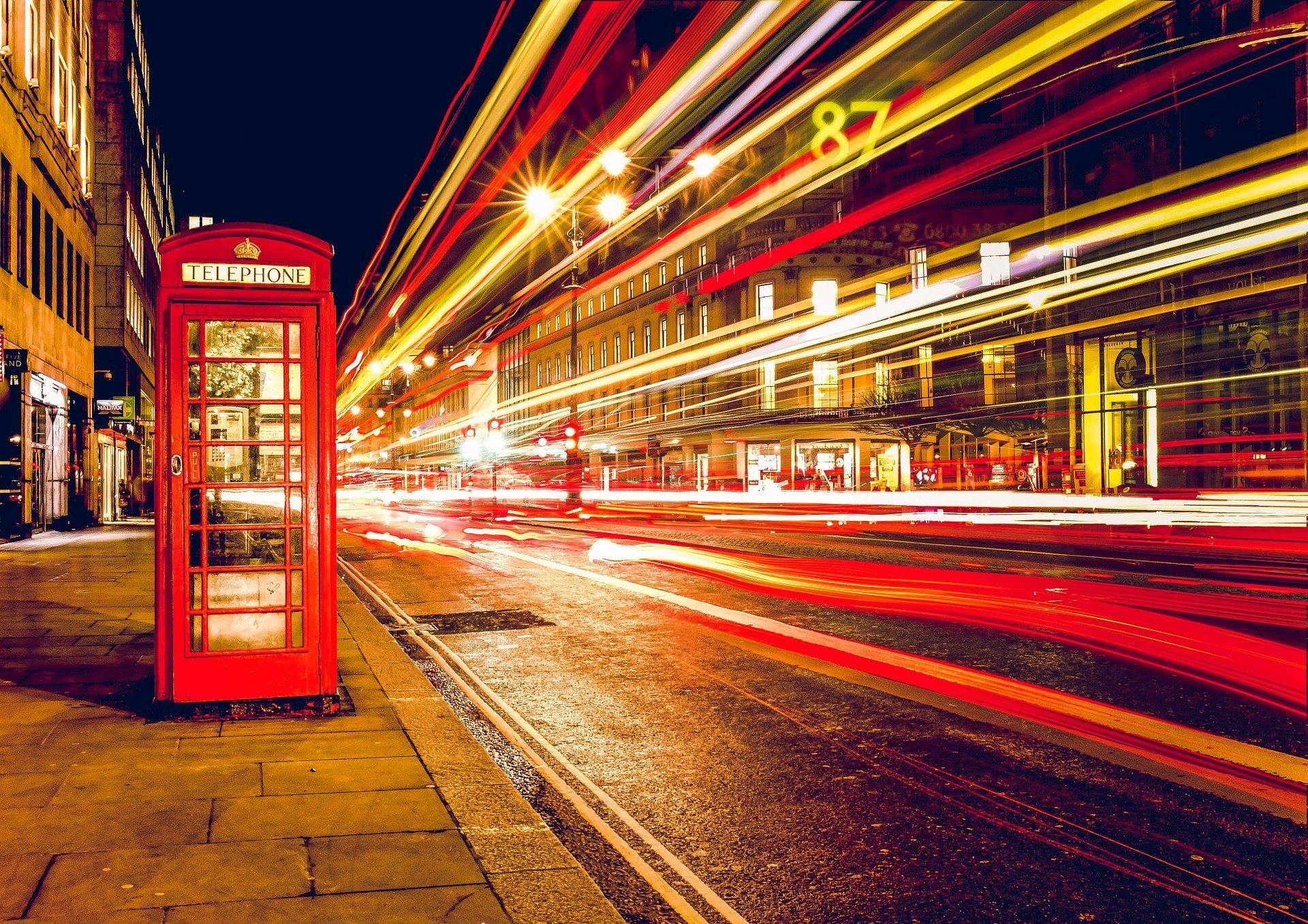 Telephone box electic lights PIXABAY free to use