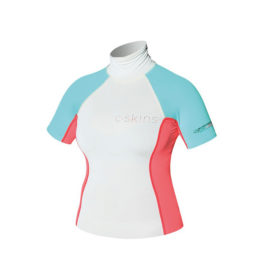 C-Skins Turtle Neck SS Rash Guard (Silver/ Coral)