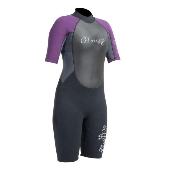 G-Force Ladies Flatlock Shortie Wetsuit