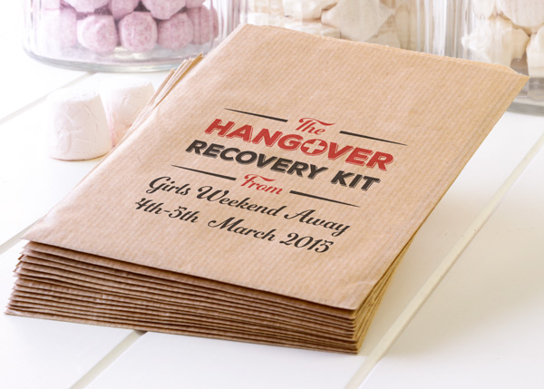 Personalised hangover survival bags kraft paper party hen night summers coming trimm your sheeps solutioingenieria Choice Image