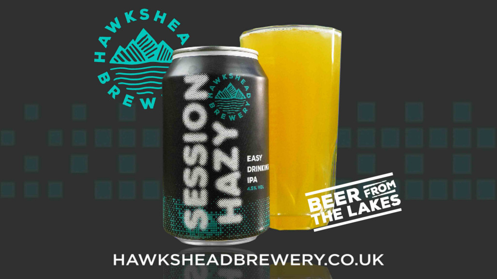 Hawkshed brewery logo and website address alongside their beer in a can called Session Hazy.