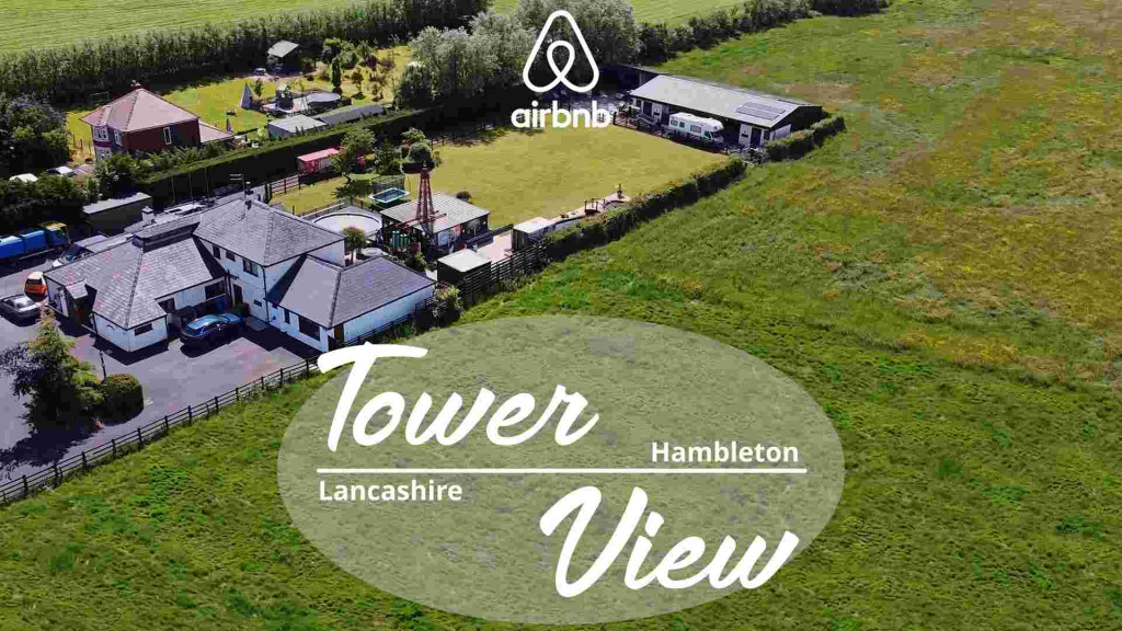 Drone photograph of Tower View Airbnb