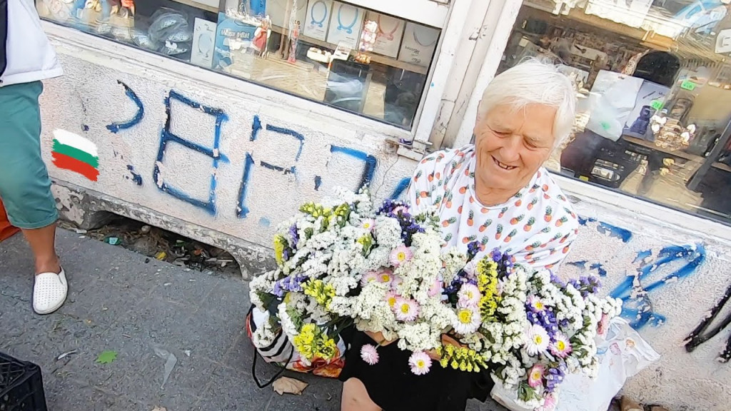 Buying ALL old lady's flowers at Bulgarian market