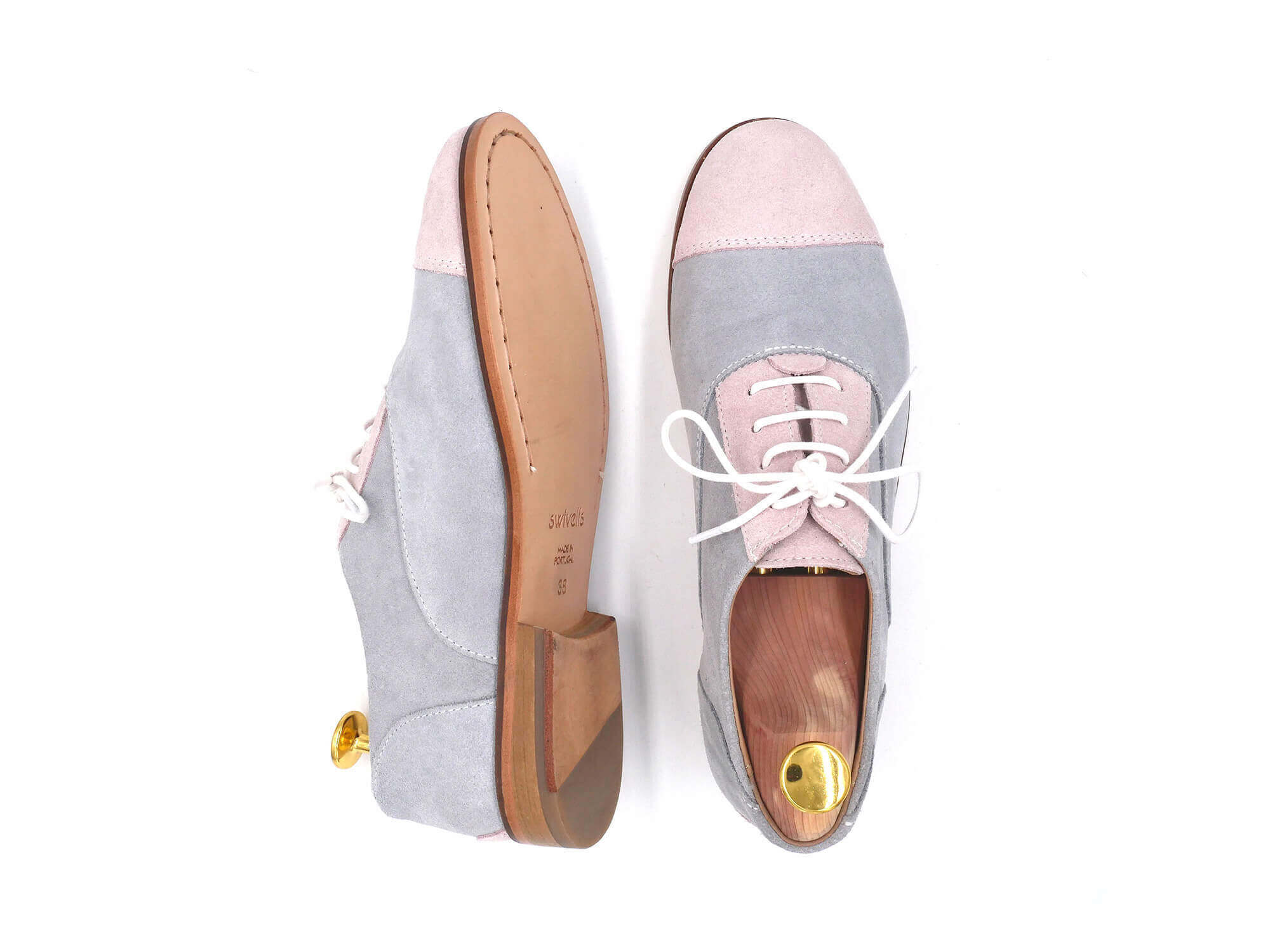 Photo Zoom Rosie Grey and pink suede derbies