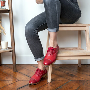 red leather derbies front swing dancing  thumb