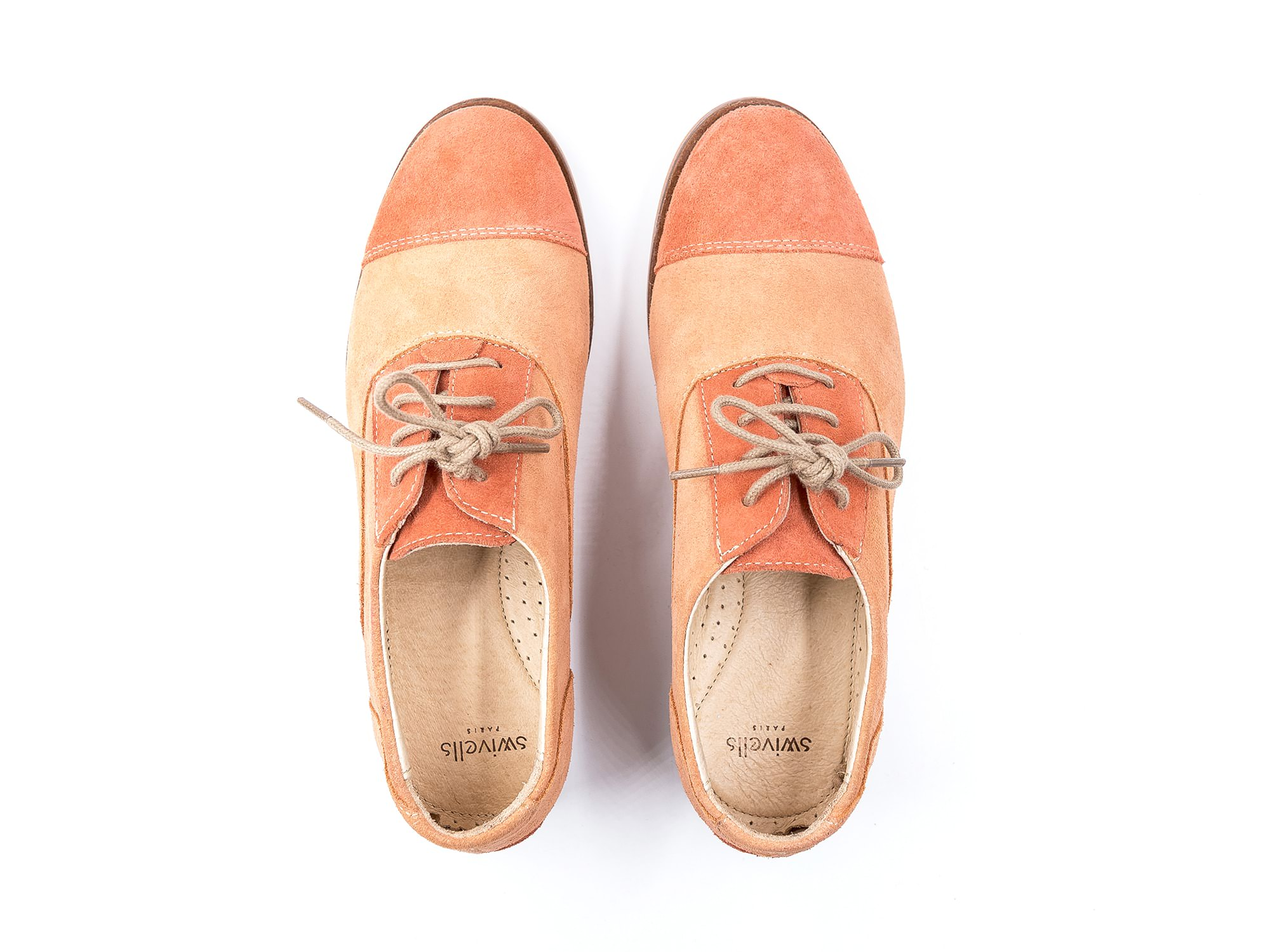 Photo Zoom Coralie Salmon and coral suede derbies