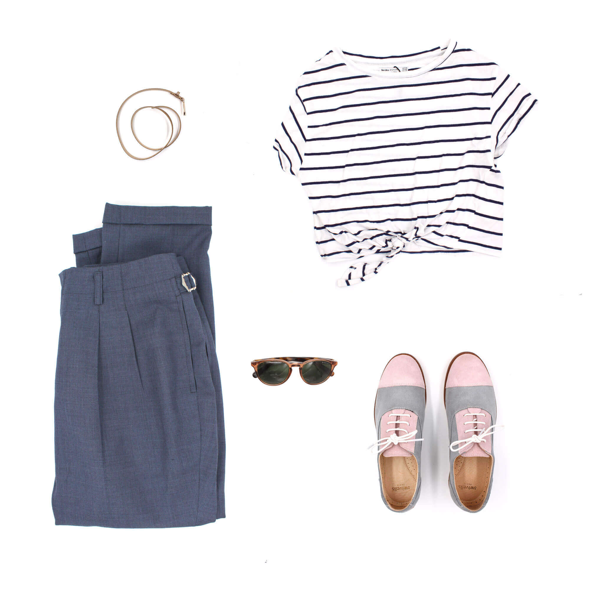Look idea for pink grey suede derbies Rosie
