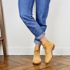 Yellow mustard nubuck boots Mama Sandy Image thumb 1