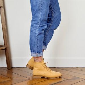 Yellow mustard nubuck boots Mama Sandy Image thumb 2