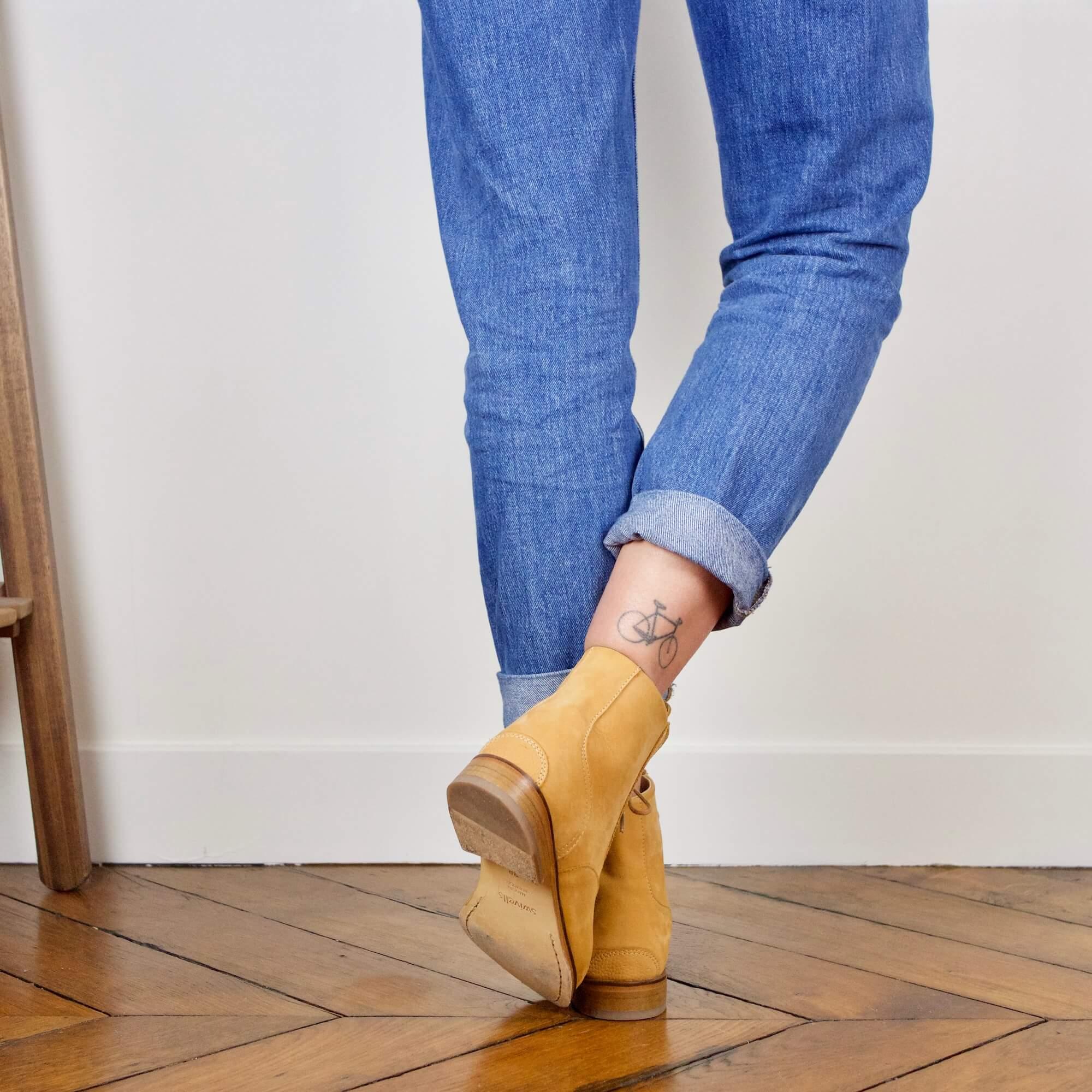 Mama Sandy Mustard yellow nubuck boots picture