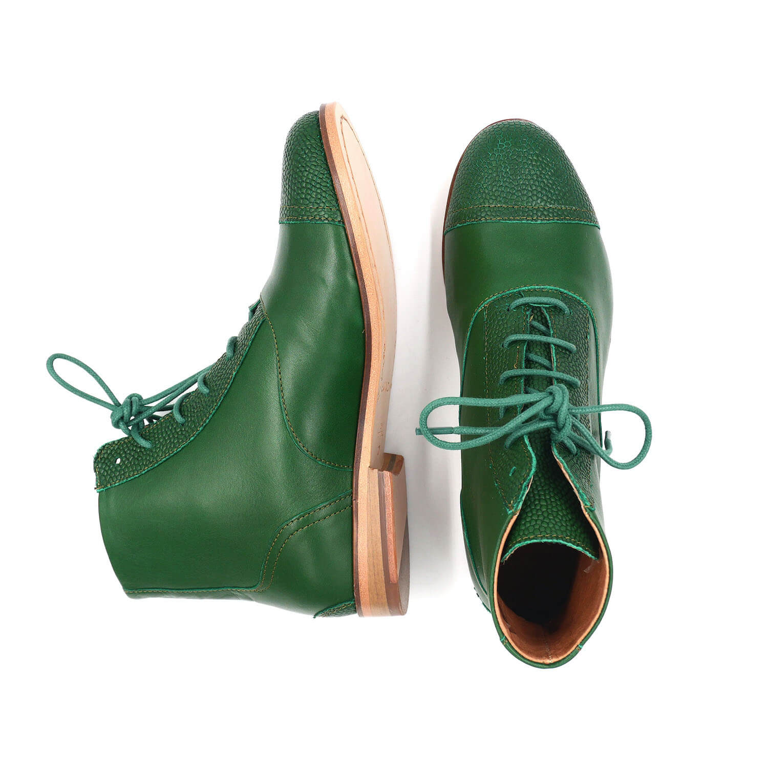 Photo Zoom Mama Green Pine green leather boots