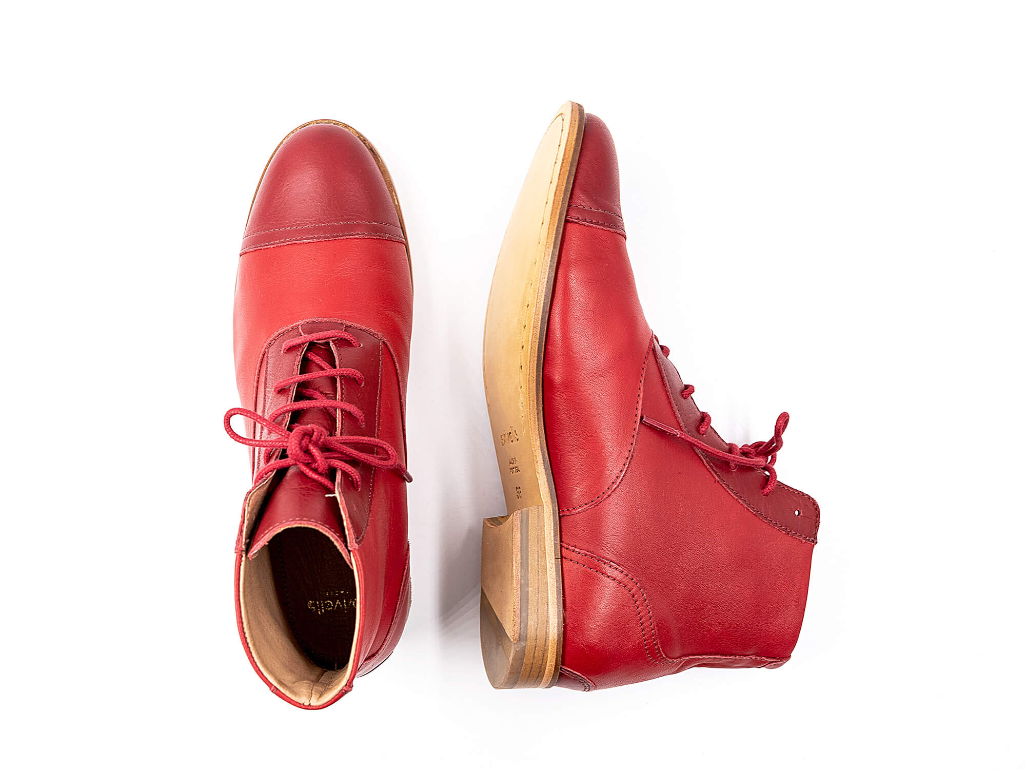 Photo Zoom Mama Rubie Red and dark red leather boots