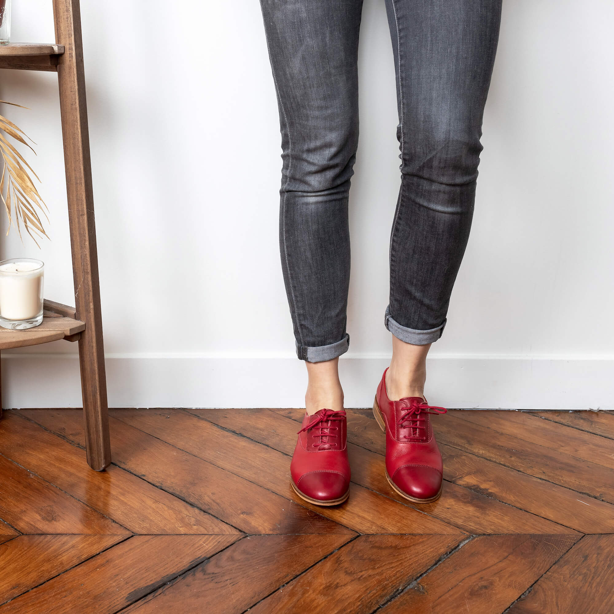 Rubie Red and dark-red leather derbies picture