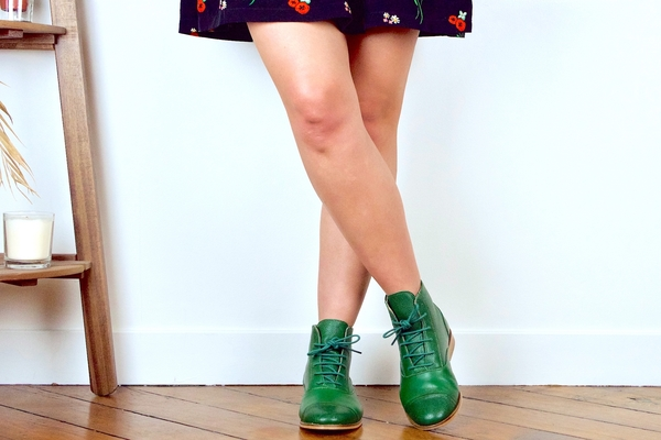mama green leather swing dancing boots