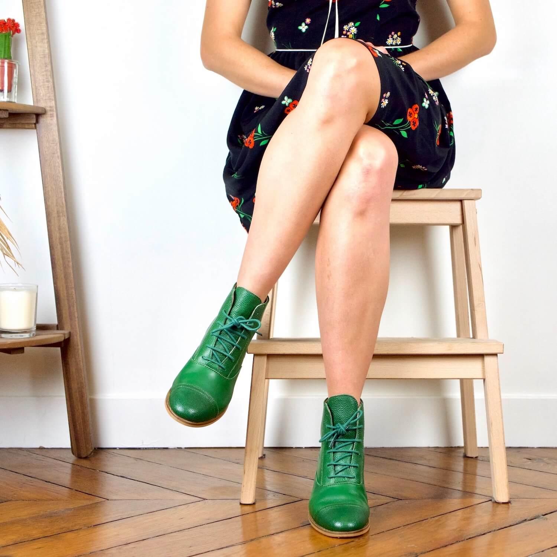 photo Mama Green Bottines cuir vert sapin et vert grainé