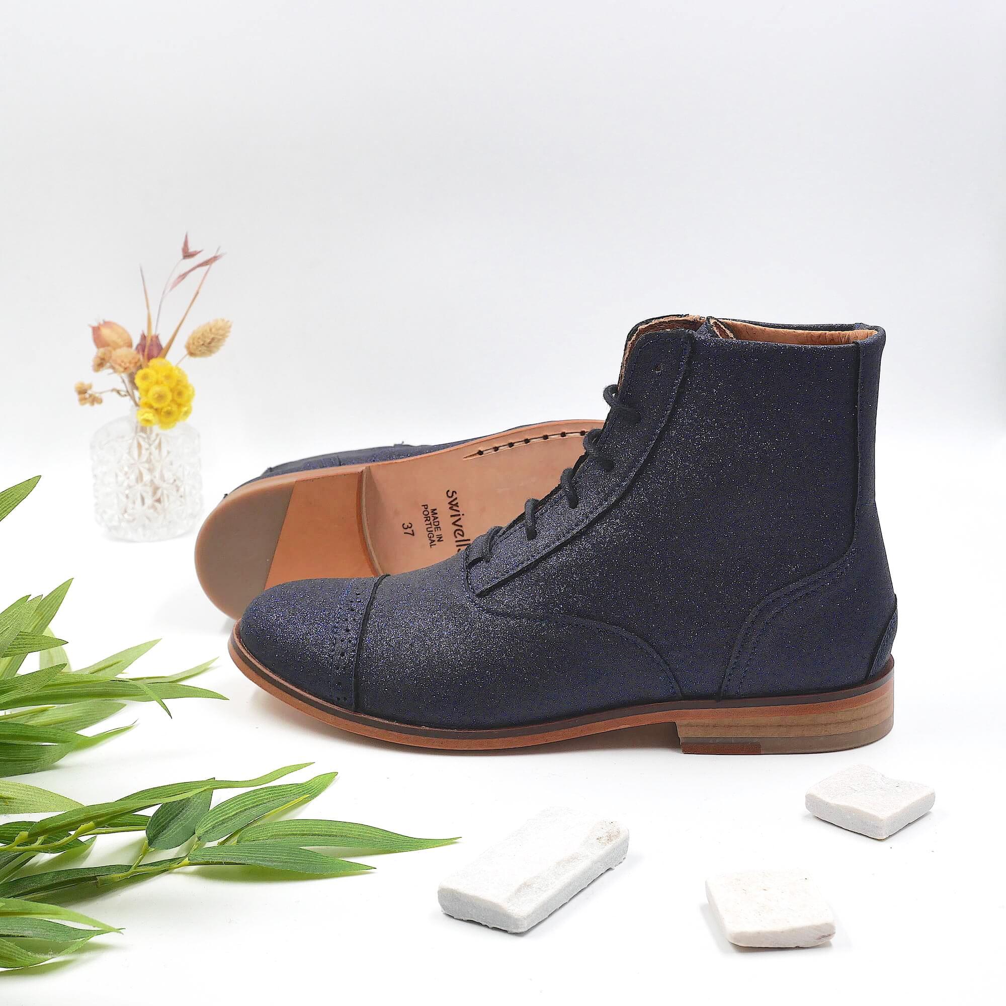 Mama Starry Dark blue glitter boots picture