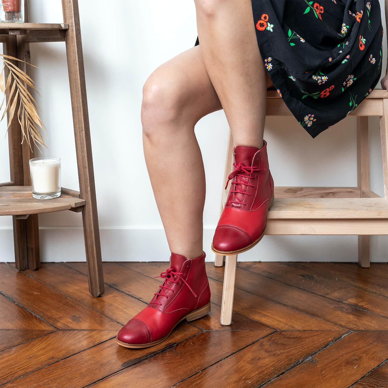 photo Mama Rubie Bottines cuir rouge et rouge foncé