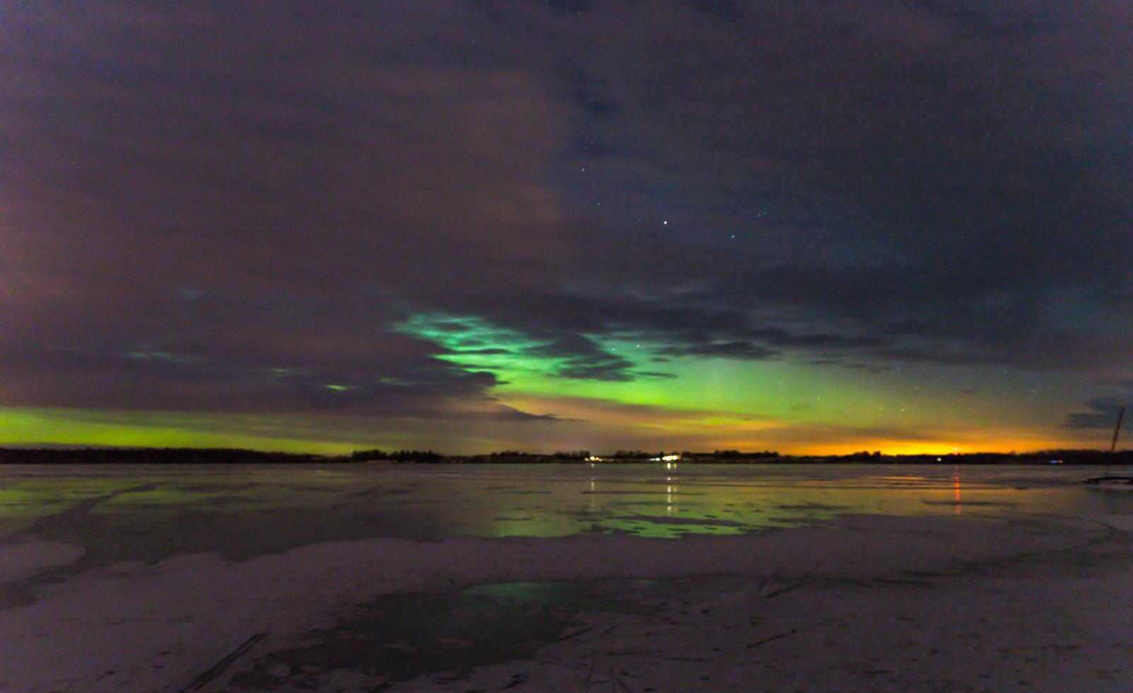 Aurora over clouds of lake Saadjärv 18.03.2018