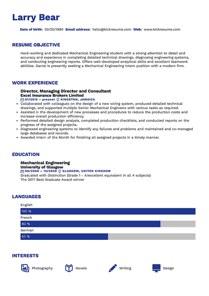 Bauhaus resume template made by Kickresume resume builder