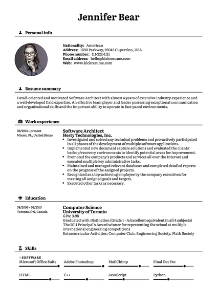 Black resume template made by Kickresume resume builder
