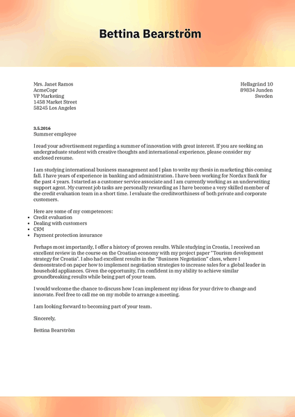 Preview of a creative cover letter template that use can use to create and download your cover letter with Kickresume CV builder