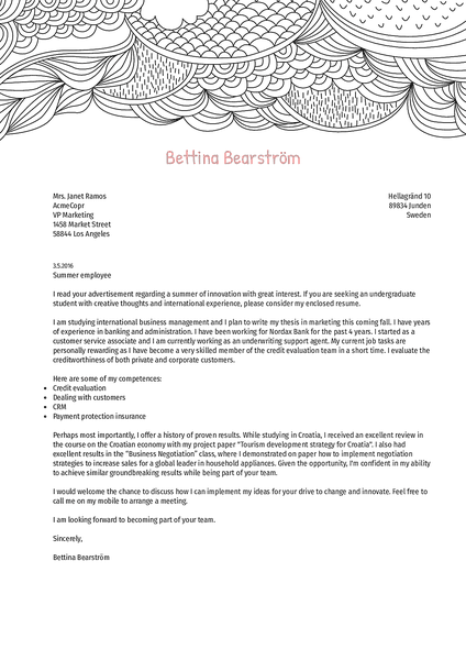 Example of a creative cover letter design with beautiful visuals and professional typography