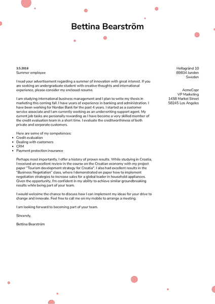 Cover-dotts cover letter template made by Kickresume cover letter builder