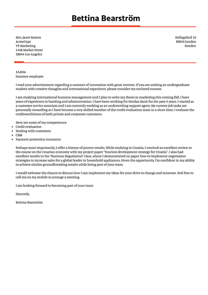 Example of a modern cover letter template you can use with Kickresume cover letter builder