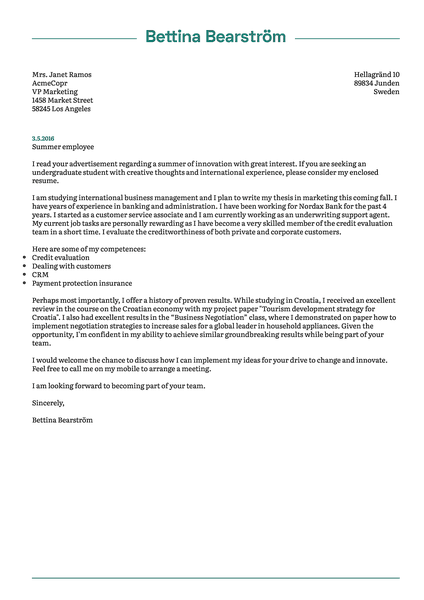 Preview of a functional cover letter template that you can use to quickly design and download your application letter in PDF