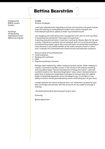 Example of a beautiful cover letter template designed around clean formatting and maximum readability
