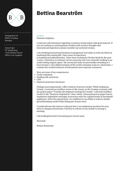 Example of a modern cover letter template that you can use to create and download your cover letter in PDF