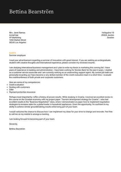 Example of a cool cover letter template that you can use with Kickresume CV builder