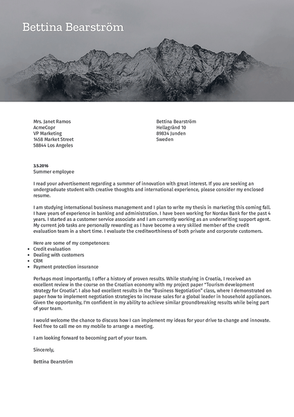 Cover-nature cover letter template made by Kickresume cover letter builder