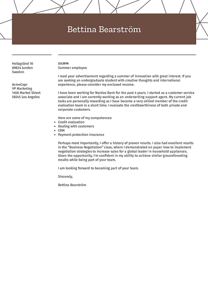 Preview of a creative cover letter template that you can use to create an attractive application letter fast