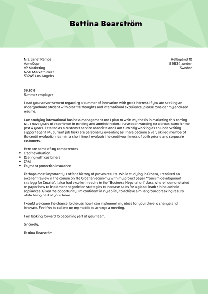 Example of a colorful cover letter template designed to match your resume created with Kickresume CV maker