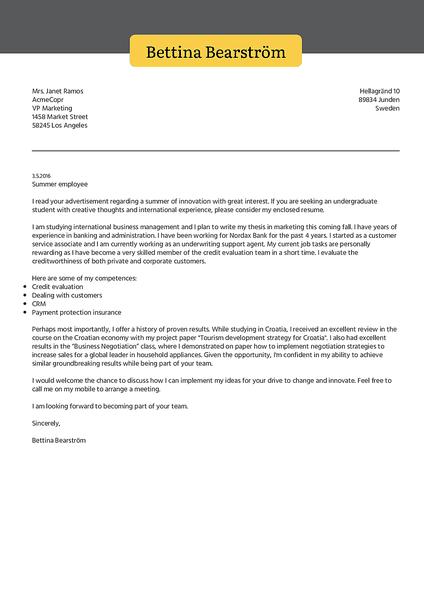 Exemplo de um modelo de carta de apresentação criativa que você pode usar para criar e baixar sua carta de candidatura rapidamente
