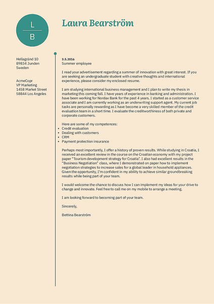 Example of a cool cover letter template designed for creative job seekers by Kickresume CV builder
